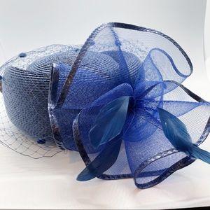 Vintage Navy Blue Pillbox Hat Feathers Bow & Veil